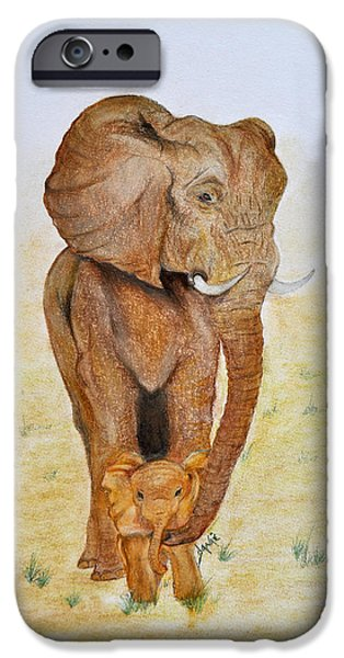 Elephants Pastels iPhone Cases - Asian Elephant with Baby iPhone Case by Danae McKillop