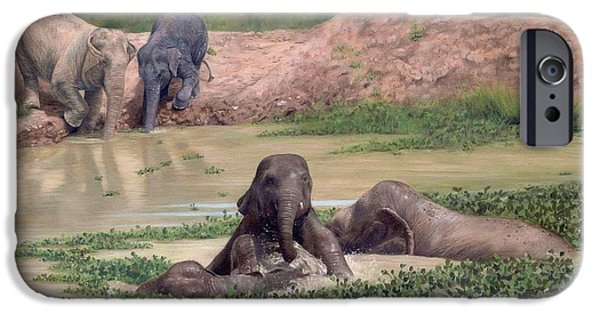 Elephant iPhone Cases - Asian Elephants - In support of Boon Lotts Elephant Sanctuary iPhone Case by Rachel Stribbling