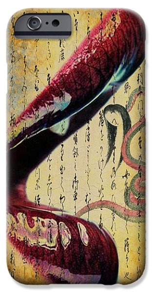 Calligraphy Print iPhone Cases - Asian Lip Service iPhone Case by Greg Sharpe
