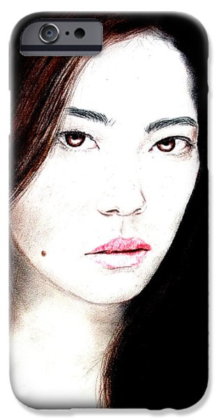 Beauty Mark iPhone Cases - Asian Model II iPhone Case by Jim Fitzpatrick
