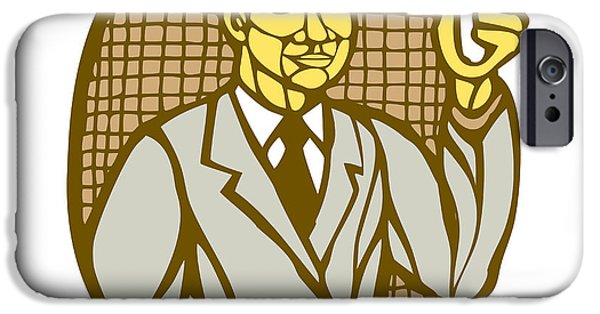 Block Prints iPhone Cases - Asian Scientist Test Tube Woodcut Linocut iPhone Case by Aloysius Patrimonio