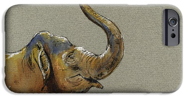 Nature Study Paintings iPhone Cases - Asiatic elephant head iPhone Case by Juan  Bosco