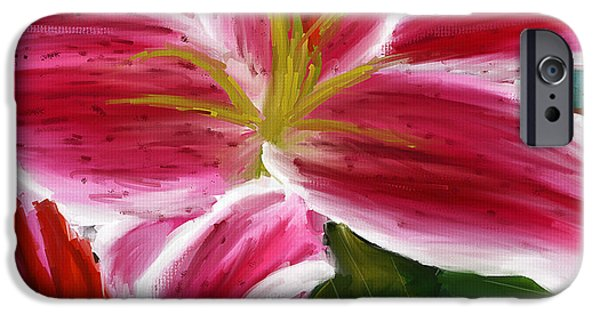 Asiatic Lily iPhone Cases - Asiatic Lily- Asiatic Lily Paintings- Pink Paintings iPhone Case by Lourry Legarde