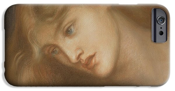 Feminine Pastels iPhone Cases - Aspecta Medusa iPhone Case by Dante Charles Gabriel Rossetti