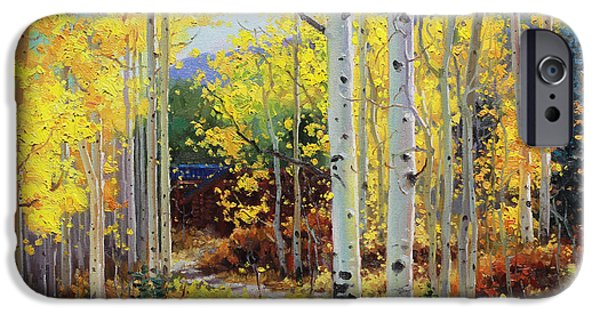 Recently Sold -  - Tree Art Print iPhone Cases - Aspen Cabin iPhone Case by Gary Kim