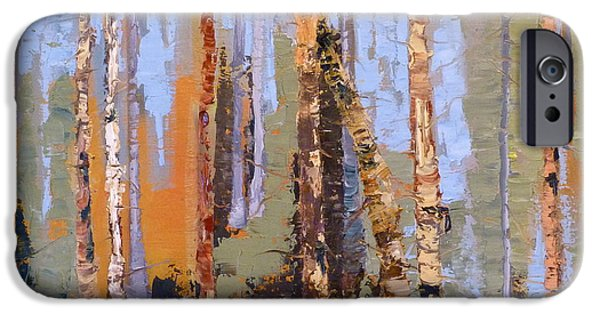 Colorado Drawings iPhone Cases - Aspen Forest Colorado iPhone Case by Susan A Becker