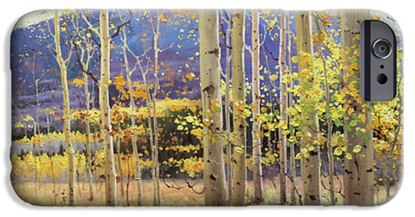 Autumn iPhone Cases - Panorama view of Aspen Trees iPhone Case by Gary Kim