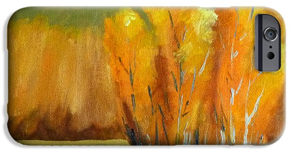 Business Paintings iPhone Cases - Aspen Season iPhone Case by Nancy Merkle