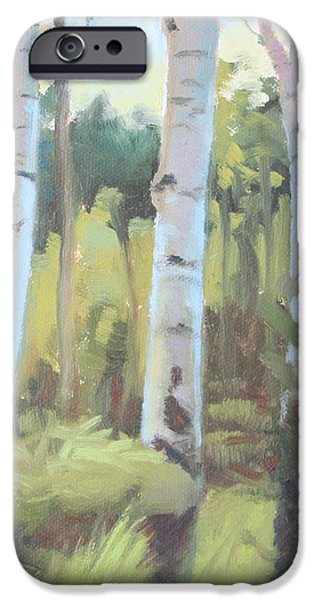 Smithsonian Paintings iPhone Cases - Aspen Trio iPhone Case by Brenda Sumpter