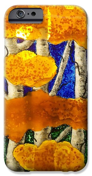 Nature Glass Art iPhone Cases - Aspens in Glass iPhone Case by Marian Berg