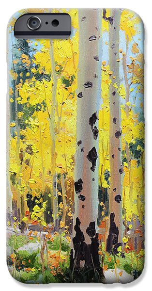 Tree Art Print iPhone Cases - Aspens in Golden Light iPhone Case by Gary Kim