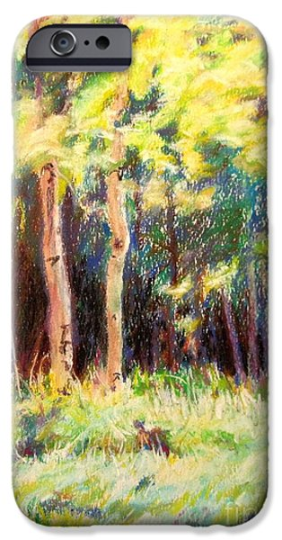 Grand Canyon Pastels iPhone Cases - Aspens on the North Rim iPhone Case by Katrina West