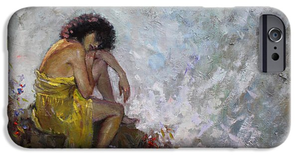 Figures Paintings iPhone Cases - Aspettando iPhone Case by Ylli Haruni