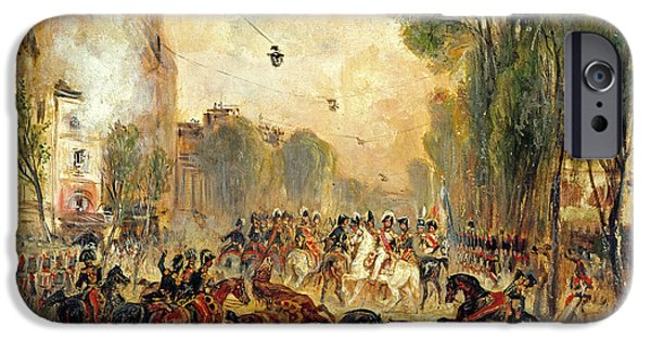 Wounded iPhone Cases - Assassination Attempt On King Louis-philippe 1773-1850 By Giuseppe Fieschi 1790-1836 Boulevard Du iPhone Case by Francois Gabriel Guillaume Lepaulle