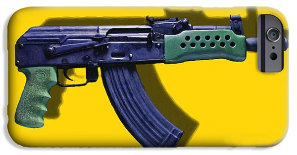 Police Art iPhone Cases - Assault Rifle Pop Art - 20130120 - v2 iPhone Case by Wingsdomain Art and Photography