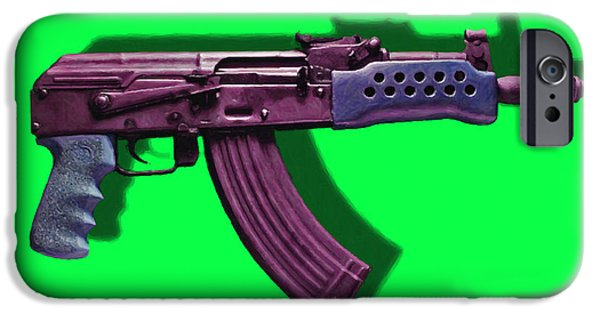 Police Art iPhone Cases - Assault Rifle Pop Art - 20130120 - v3 iPhone Case by Wingsdomain Art and Photography