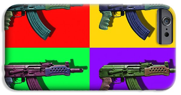 Police Art iPhone Cases - Assault Rifle Pop Art Four - 20130120 iPhone Case by Wingsdomain Art and Photography