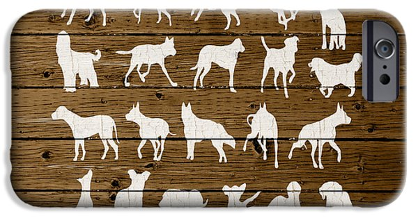 Dog Mixed Media iPhone Cases - Assorted Dog Species Outline White Distressed Paint On Reclaimed Wood Planks iPhone Case by Design Turnpike
