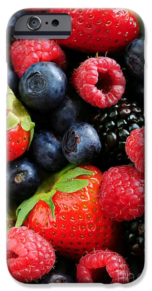 Freshness iPhone Cases - Assorted fresh berries iPhone Case by Elena Elisseeva