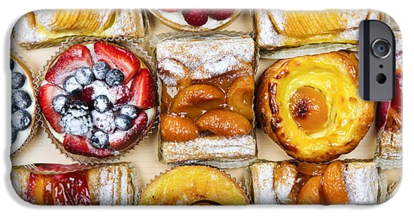 Tasty Photographs iPhone Cases - Assorted tarts and pastries iPhone Case by Elena Elisseeva