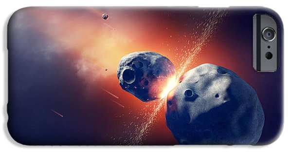 Hits iPhone Cases - Asteroids collide and explode  in space iPhone Case by Johan Swanepoel