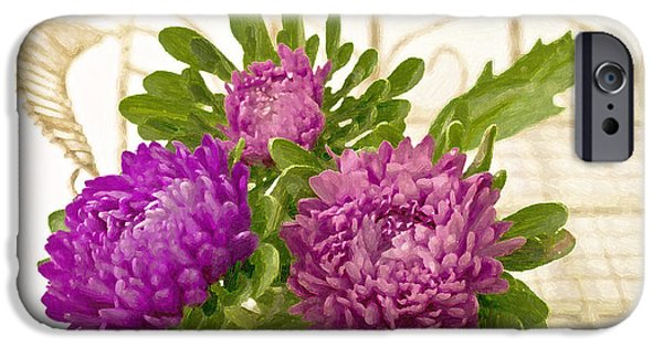 Pinks And Purple Petals Digital iPhone Cases - Asters In Tray - Digital Art Oil Painting iPhone Case by Sandra Foster