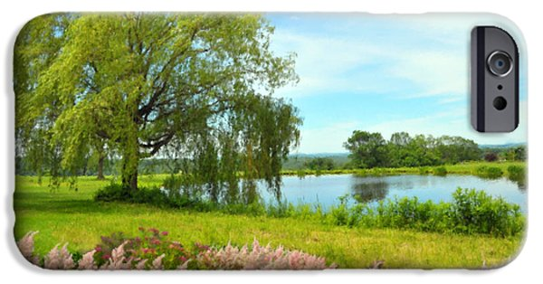 Willow Lake Pastels iPhone Cases - Astilbes By The Pond iPhone Case by Magna Carta