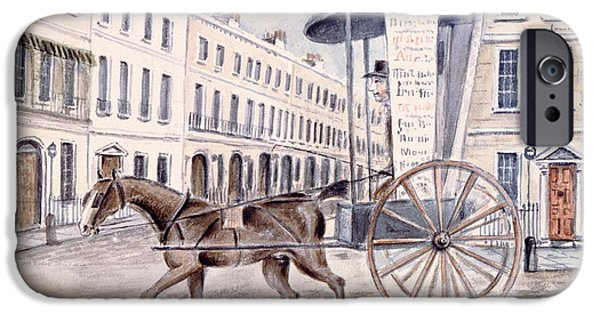 Horse And Cart iPhone Cases - Astleys Advertising Cart Wc On Paper iPhone Case by Thomas Hosmer Shepherd