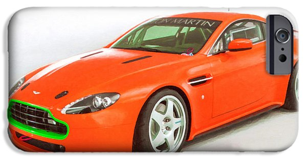 Flashy Paintings iPhone Cases - Aston Martin 3 iPhone Case by Lanjee Chee