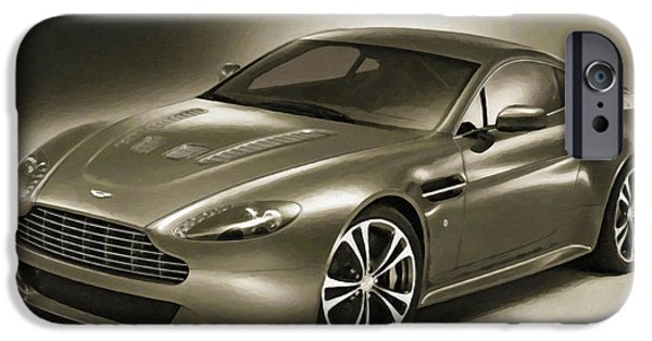 Flashy Paintings iPhone Cases - Aston Martin 4 iPhone Case by Lanjee Chee