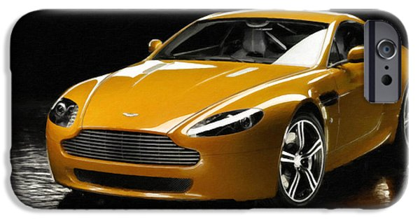 Flashy Paintings iPhone Cases - Aston Martin 8 iPhone Case by Lanjee Chee