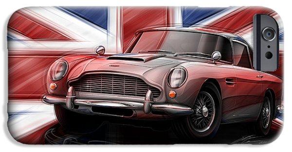 Union Digital Art iPhone Cases - Aston Martin DB5 1963 iPhone Case by Etienne Carignan