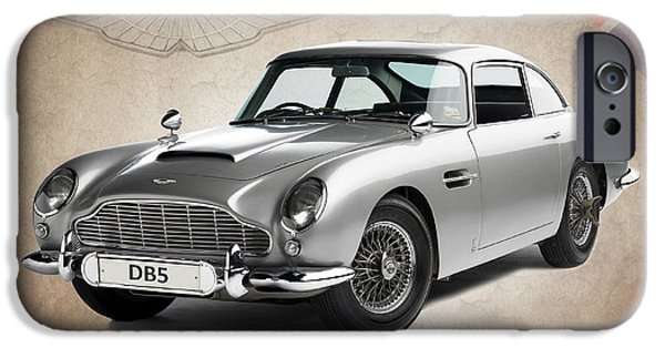 Vintage Cars iPhone Cases - Aston Martin DB5 iPhone Case by Mark Rogan