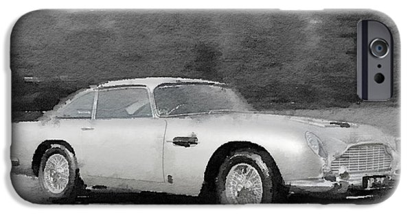 Vintage Car iPhone Cases - Aston Martin DB5 Watercolor iPhone Case by Naxart Studio
