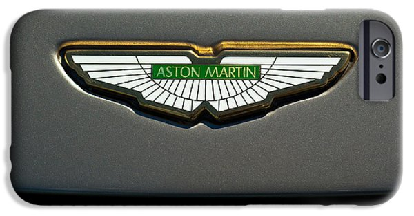 Car Images iPhone Cases - Aston Martin Emblem iPhone Case by Jill Reger