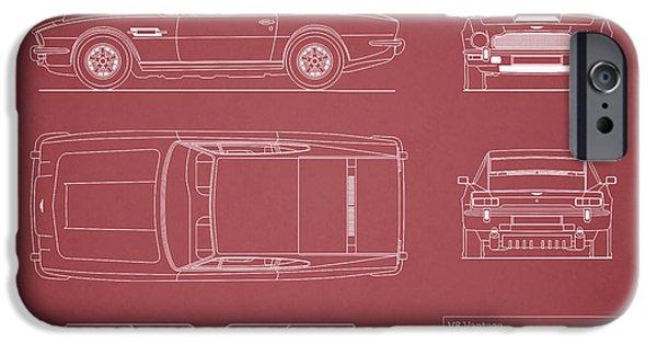 V8 iPhone Cases - Aston Martin V8 Vantage Blueprint - Red iPhone Case by Mark Rogan