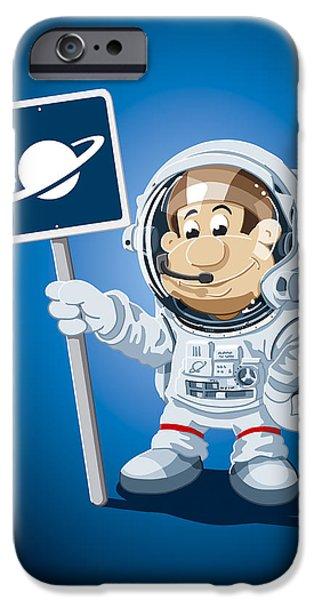 Astronaut iPhone Cases - Astronaut Cartoon Man iPhone Case by Frank Ramspott