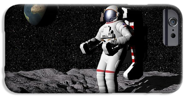 Concept Digital Art iPhone Cases - Astronaut On Moon With Earth iPhone Case by Elena Duvernay
