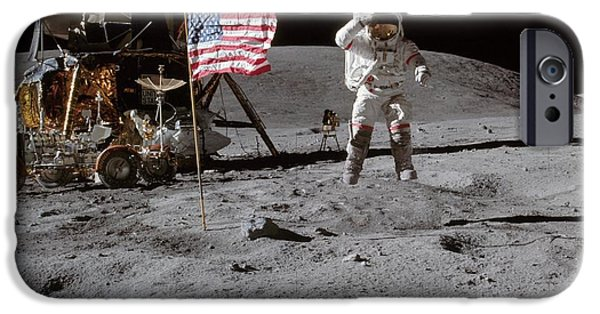 Stellar iPhone Cases - Astronaut saluting the American flag during Apollo 16 Mission iPhone Case by Celestial Images