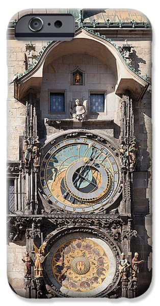 Town Square iPhone Cases - Astronomical Clock At The Old Town iPhone Case by Panoramic Images