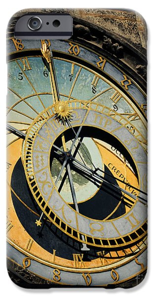 Travel Pyrography iPhone Cases - Astronomical clock in Prague iPhone Case by Jelena Jovanovic