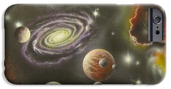 Exoplanet Paintings iPhone Cases - Astronomy themed display Table-2 iPhone Case by Sam Del Russi