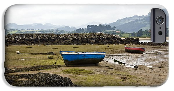 Rainy Day iPhone Cases - Asturias Seascape With Boats iPhone Case by Frank Tschakert