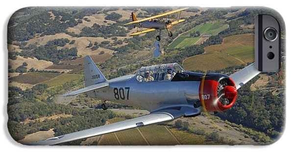 North American Aviation iPhone Cases - At-6 Texan And Stearman Pt-17 Flying iPhone Case by Phil Wallick