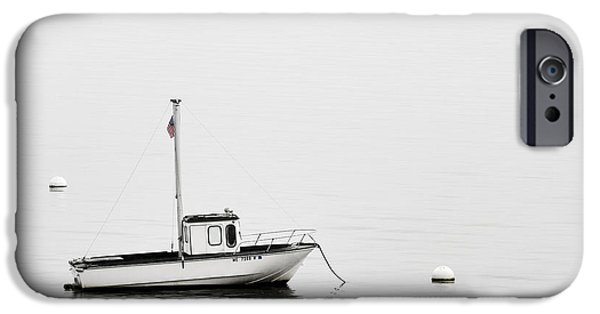 Down East iPhone Cases - At Anchor Bar Harbor Maine Black and White iPhone Case by Carol Leigh