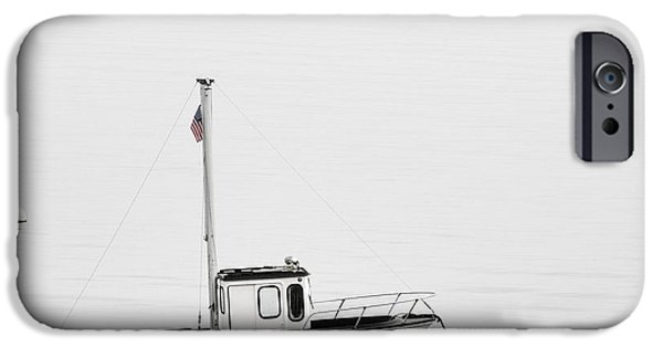 Maine iPhone Cases - At Anchor Bar Harbor Maine Black and White Square iPhone Case by Carol Leigh