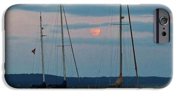 Sailboats iPhone Cases - At Ease on the Bay iPhone Case by Jeannie Allerton