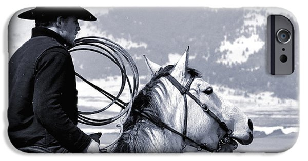 Roping Horse iPhone Cases - At Home on the Range - 2 iPhone Case by Kae Cheatham