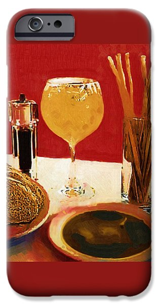 Table Wine iPhone Cases - At Our Italian Restaurant iPhone Case by RC deWinter