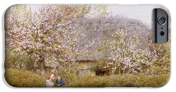 19th Century iPhone Cases - At School Green Isle of Wight iPhone Case by Helen Allingham